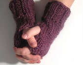 Fingerless Gloves Knit Handwarmer Wristwarmers Purple - Made to Order by ImpossiblyAlice