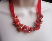 Mag Necklace as Scarlet Stone Crochet Statement Necklace with Rainbow Beads