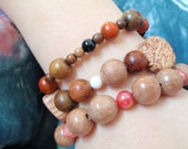 3 Red, White and Black Tropical Wood Bead Bracelets 6 to 7 Inch