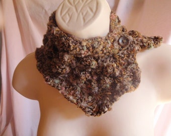 Fall Brown Scarf Shawl Freeform Cowl