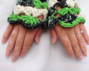 Handspun Angora Rabbit Wool Fingerless Gloves