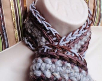 Grey and Brown Vertical Stripe Scarf