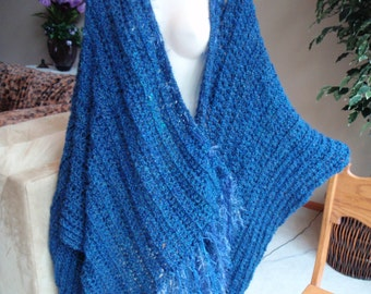 Shawl Wrap with Sleeves and Fringe Handmade Wearable Blanket