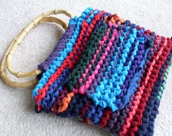 Bohemian Style Rainbow Purse with Bamboo Handles Red Lining Cell Phone Pocket