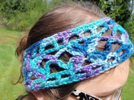 Handmade Crochet Headband in Mixed Ocean Soft Wide