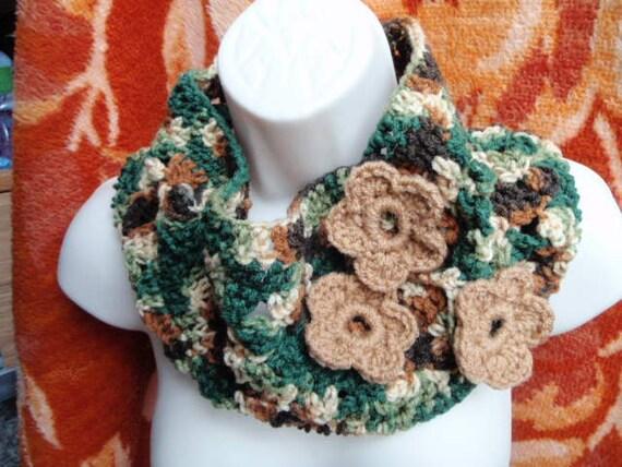 Kallie Flower Cowl in Warm Brown Woodsy