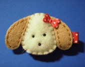 Puppy Dog With Red Polka Dot Bow Felt Hair Clip Clippie - For Infant Toddler Girl