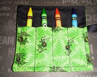 Halloween Mini Crayon Keeper Roll Up Holder  4-Count Party Favor - Itsy Bitsy Spider
