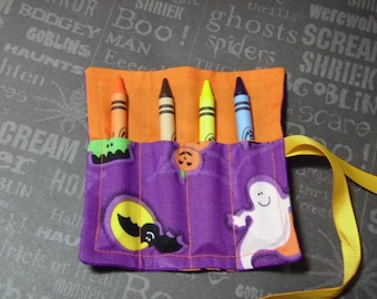Halloween Mini Crayon Keeper Roll Up Holder 4-Count Party Favor - Monster Friends