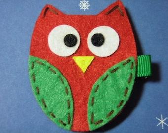 Felt Hair Clips - Red Owl  - For Infant Toddler Girl