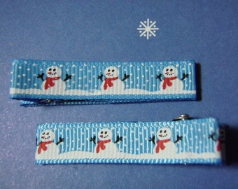 Snowmen Simple Christmas Clippie Set - For Infant Toddler Girl