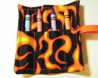 Mini Crayon Keeper Roll Up Holder 4-Count Party Favor - Flame Fabric