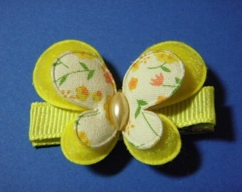 Yellow Butterfly Hair Clip - Clippie For Infant Toddler Girl