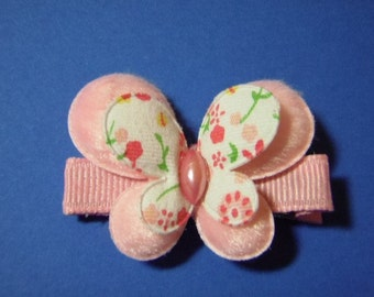 Pink Butterfly Hair Clip - Clippie For Infant Toddler Girl