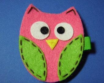Pink And Green Felt Owl Hair Clip - For Infant Toddler Girl