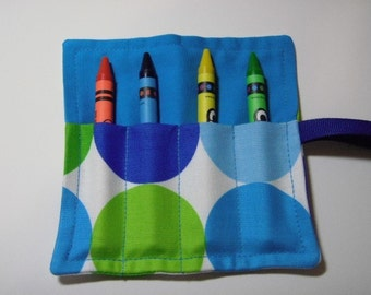 Mini Crayon Keeper Roll Up Holder 4-Count Party Favor Big Dots In Blues/Greens