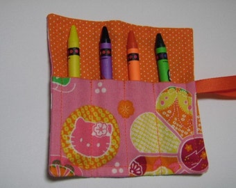 Mini Crayon Keeper Roll Up Holder 4 Count Party Favor - Retro Kitty Fabric