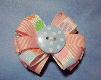 Cute As A Button Pink Easter Ribbon Flower Hair Clip - For Infant Toddler Girl