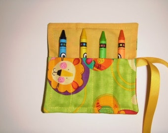 Mini Crayon Keeper 4-Count Roll Up Holder Party Favor - Animal Friends