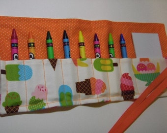 8-Count Crayon Keeper Roll Up Holder w/Pad - Ice Cream Treats