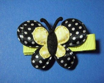 Black And Yellow Swiss Dot Butterfly Hair Clip - For Infant Toddler Girl Teen Adult