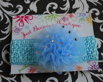 Blue Tulle Puff Flower on Blue Headband