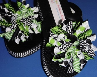 Lime Green & Black Flip Flops - Interchangeable Korker Hairbows - Youth Sizes