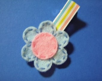Two-Toned Blue And Pink Posey Felt Flower Hairbow Clippie- For Infant Toddler Girl