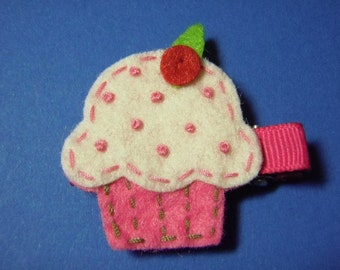 Cupcake Felt Hair Clip - Strawberry Pink With Vanilla Frosting And Sprinkles - For Infant Toddler Girl