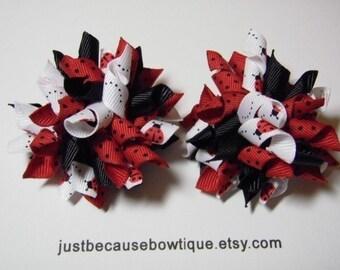 Ladybug Mini Korker Hair Bow Set For Infant Toddler Girl