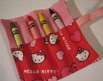 Mini Crayon Keeper 4-Count Roll Up Holder Party Favor - Kitty Heart Fabric