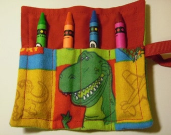 Mini Crayon Keeper 4-Count Roll Up Holder Party Favor - Toy Story Fabric