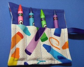 Crayon Fabric In Blue Mini Crayon Keeper Roll Up Holder 4-Count Party Favor