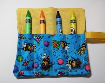 Mini Crayon Keeper Roll Up Holder 4-Count Party Favor - Bees