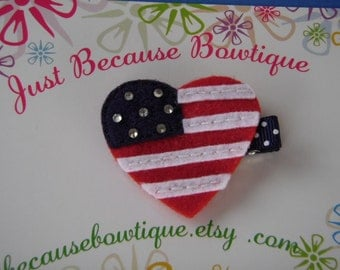 Patriotic American Flag Heart Felt Hair Clip - For Infant Toddler Girl