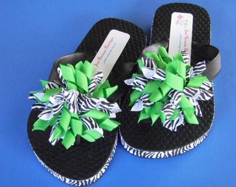 Zebra Print & Lime Green Flip Flops - Korker Bows...Youth Sizes...