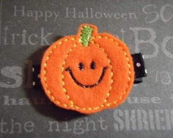 "Halloween ""Happy Smiling Pumpkin"" Felt Clippie Hair Clip - For Infant Toddler Girl"