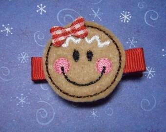 Gingerbread Girl Felt Hair Clip Clippie - For Infant Toddler Girl