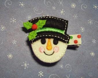 "Snowman ""Holly"" Felt Hair Clip Clippie - For Infant Toddler Girl"