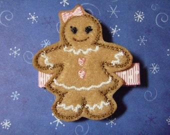 """Gingerbread Girl """"Ginger"""" Felt Hair Clip Clippie - For Infant Toddler Girl"""