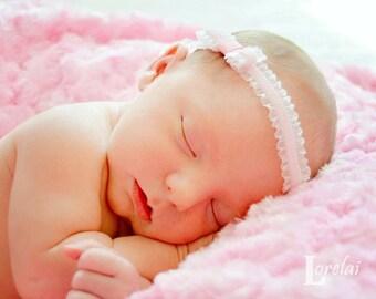 Pink Velvet Ruffles Headband - Great Photography  Prop/Baby Shower Gift--