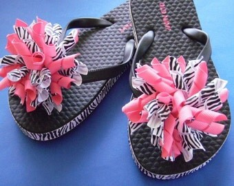 Zebra Print & Hot Pink Flip Flops - Korker Bows...Youth Sizes...
