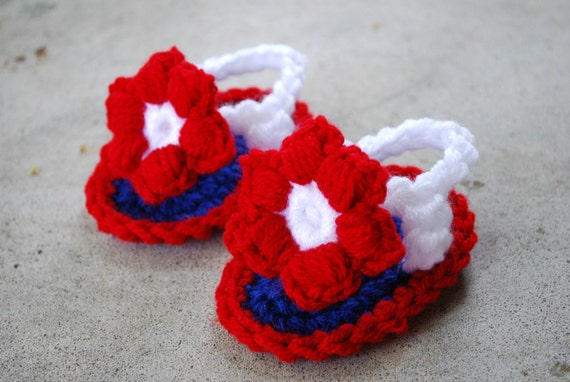 Red, White and Blue Crochet Flower Sandals
