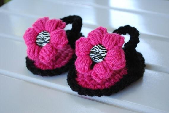 NEW-----Hot Pink and Black Zebra Crochet Flower Sandals/Flip Flops/Choose Size/Baby Shower Gift