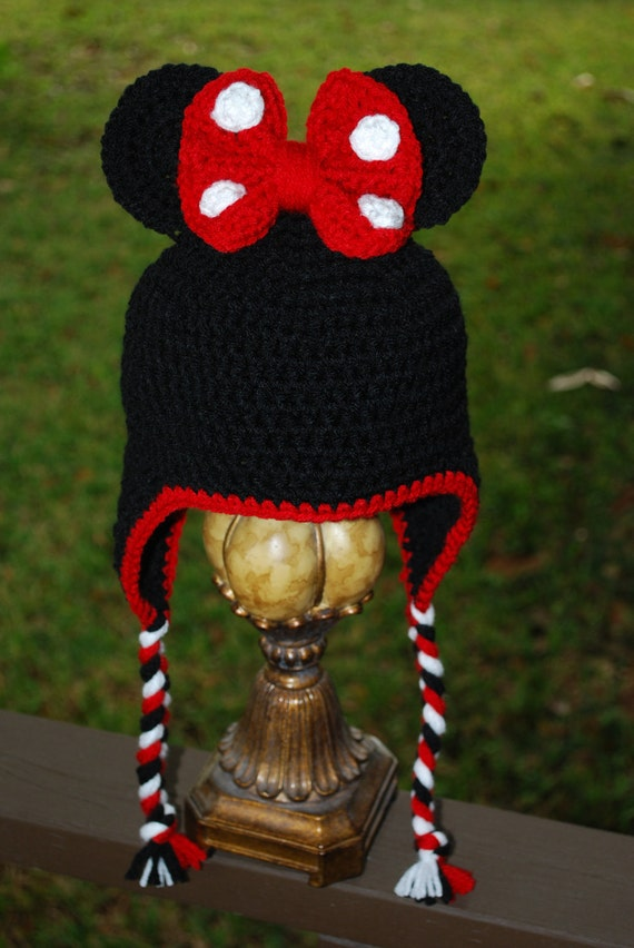Minnie Mouse Earflap Beanie Hat/Photography Prop/Baby Shower Gifts