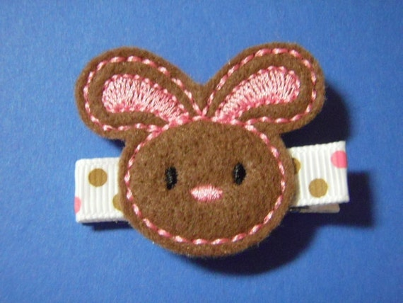 Chocolate Easter Bunny Felt Hair Clip Clippie - For Infant Toddler Girl