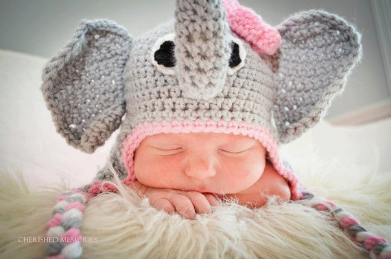 Elephant Earflap Beanie Hat with Pink Flower/Baby Shower Gift/Photography Prop/Halloween Costume