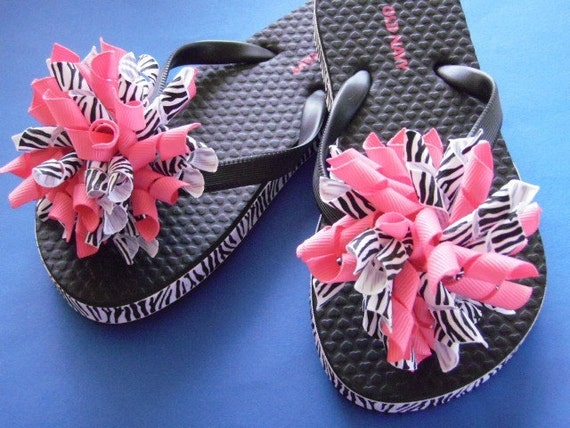 Zebra Print & Hot Pink Flip Flops - Korker Bows...Youth Sizes...Ready to Ship