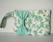 Mint Floral Wristlet // Ready to Ship - SALE