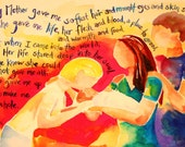 """Adoption Print. """"A Mother's Love"""" 5x7 photographic print of original poem and ink painting"""